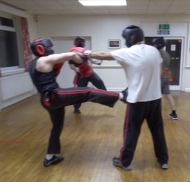 Wirral Kung Fu Academy sparring defensive kick